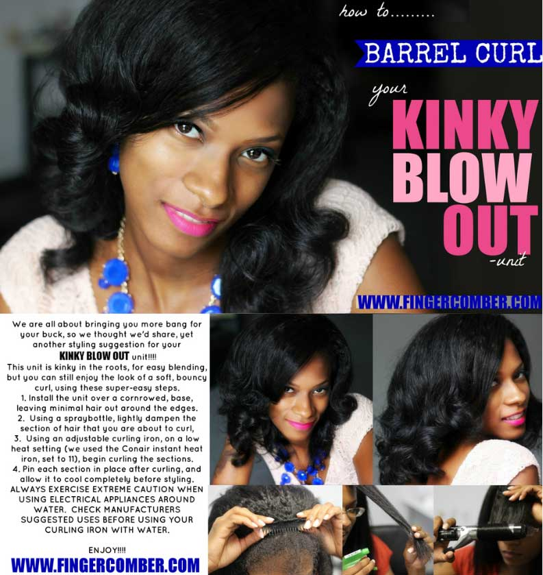 kinky blow out barrel curl