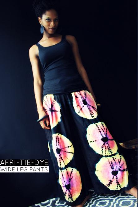 AFRI-TIE DYE WIDE LEG PANTS-EBONY MAGENTA