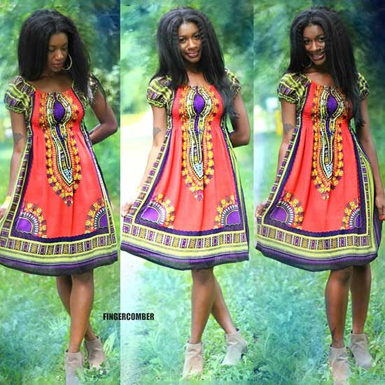 GARDEN PARTY DASHIKI DRESS-PAPRIKA
