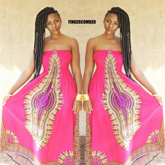 Pink Dashiki Dress