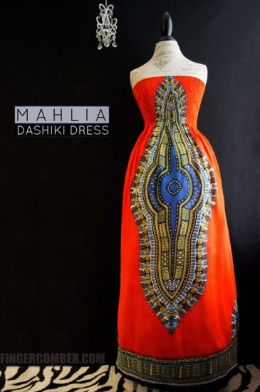 Orange Dashiki Dress