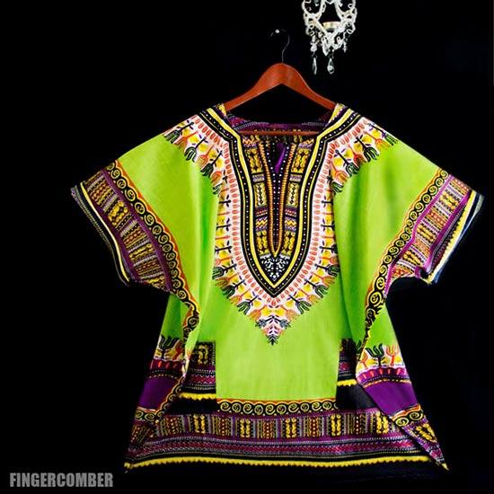 Green High Dashiki Dress