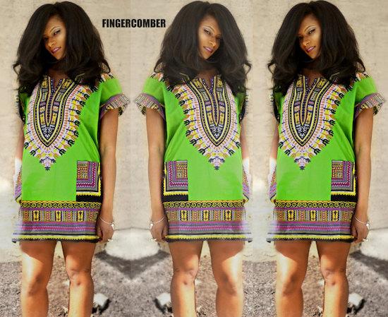 Green Thigh High Dashiki Dress
