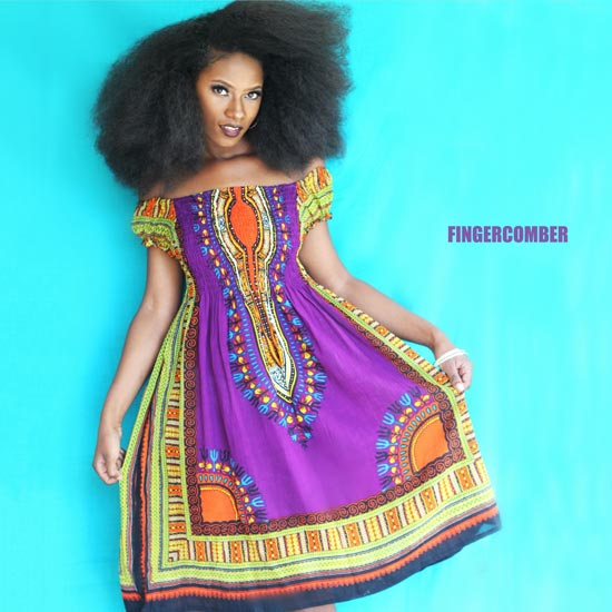 Garden Party Ankara Dashiki Dress in African Violet